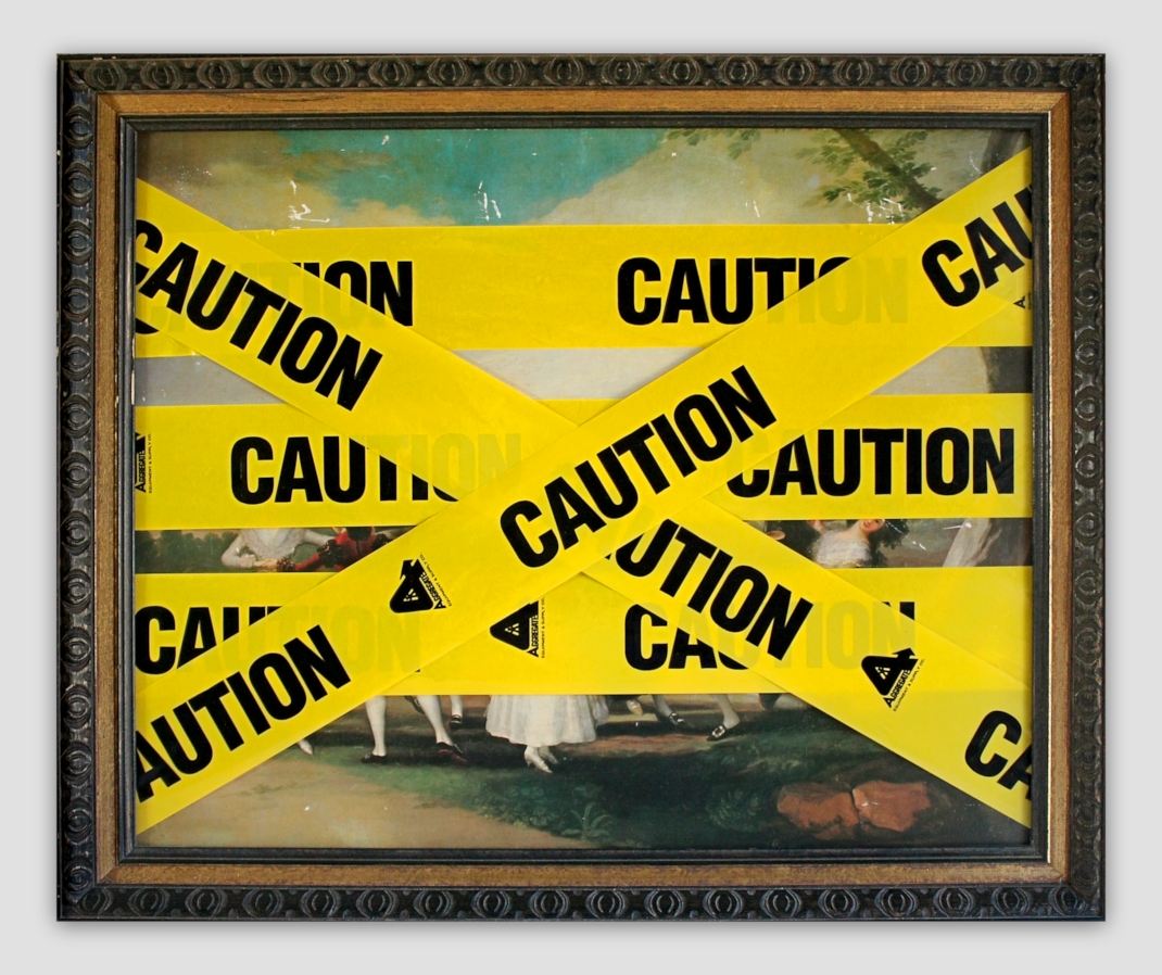 chad-wys-caution-goya-mixed-media-on-found-print-and-frame-2010-21-x-255-x-151