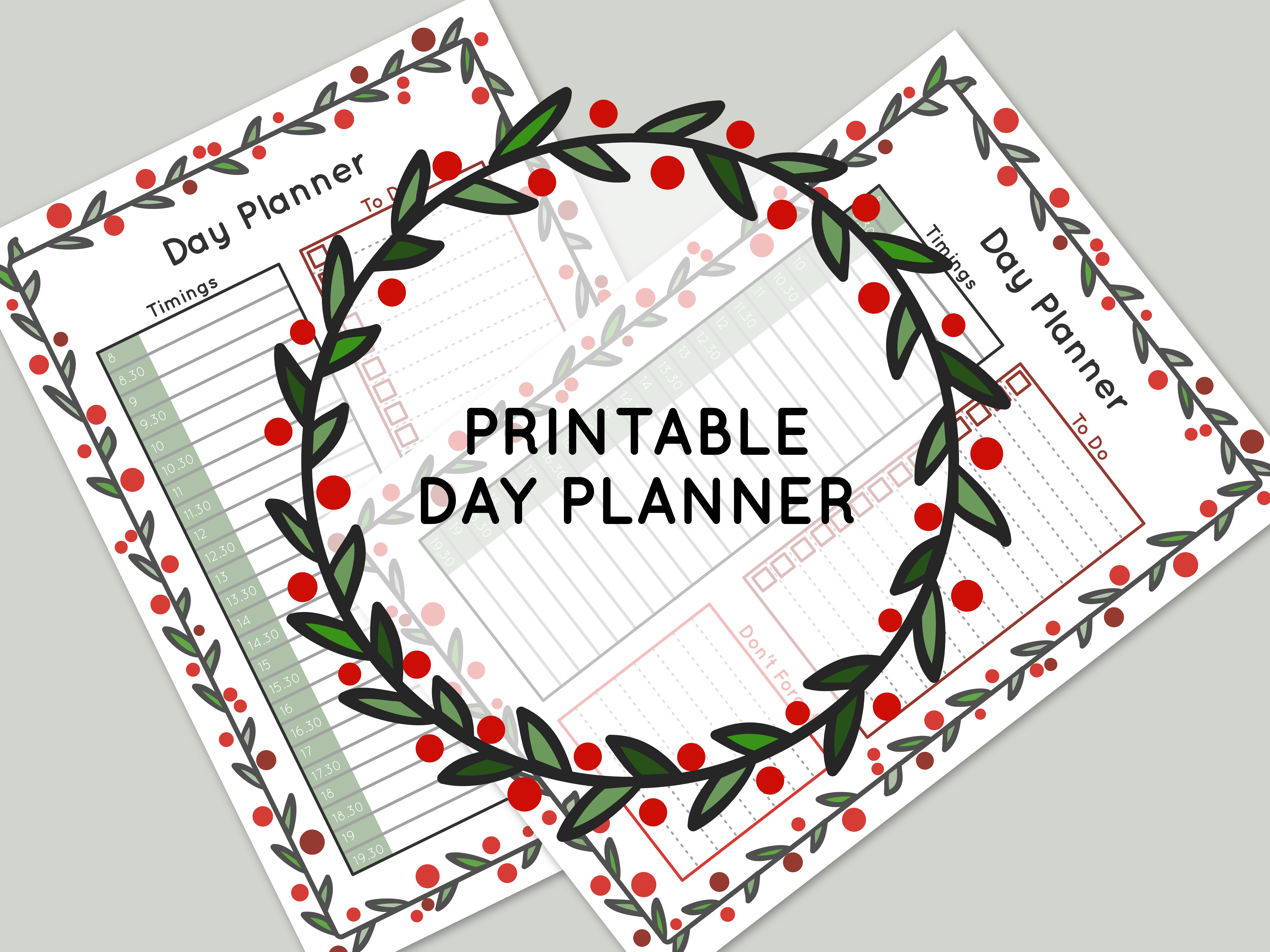 FREE printable festive christmas day planner
