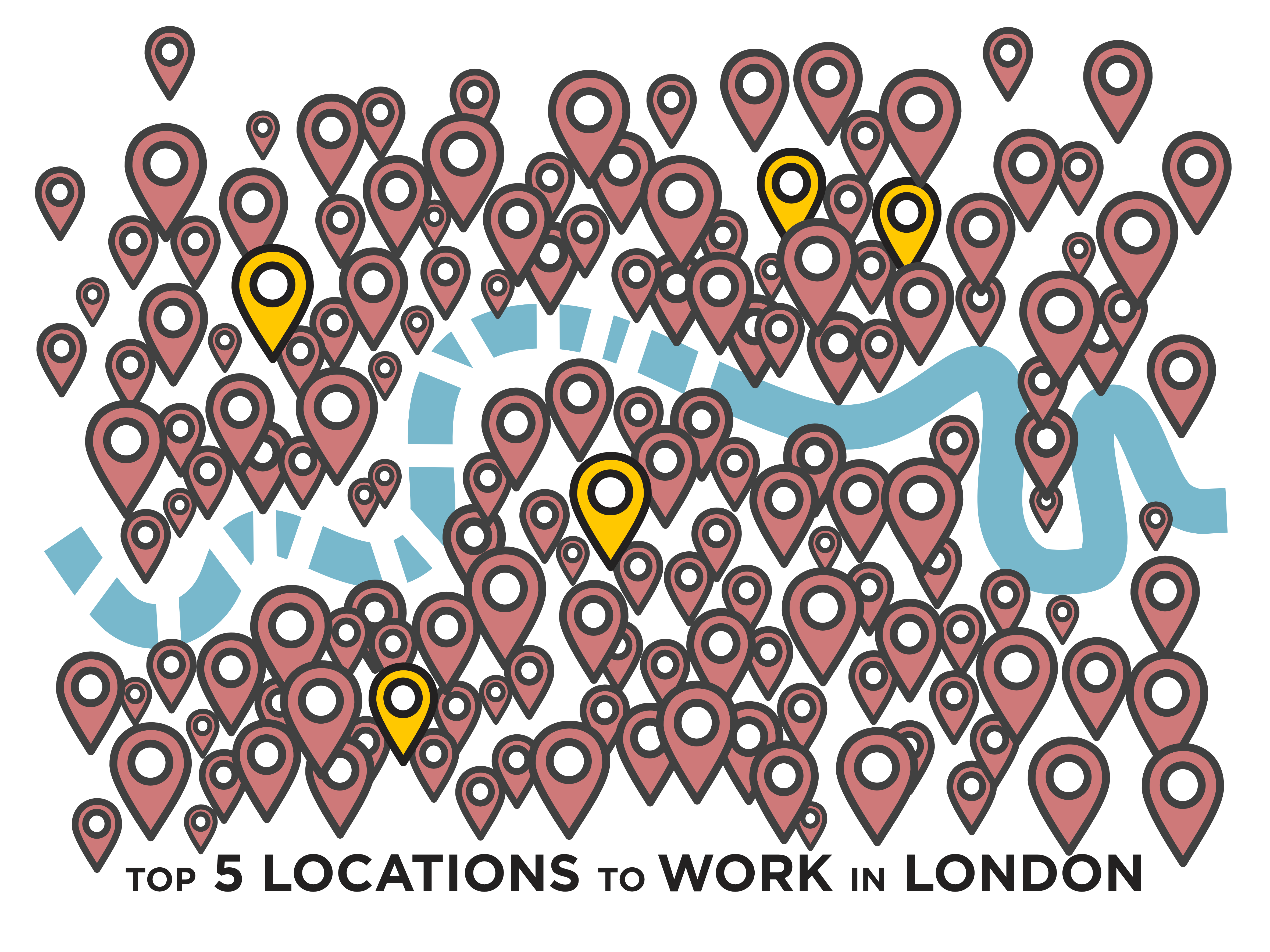 Top 5 Locations to work in London Graphic