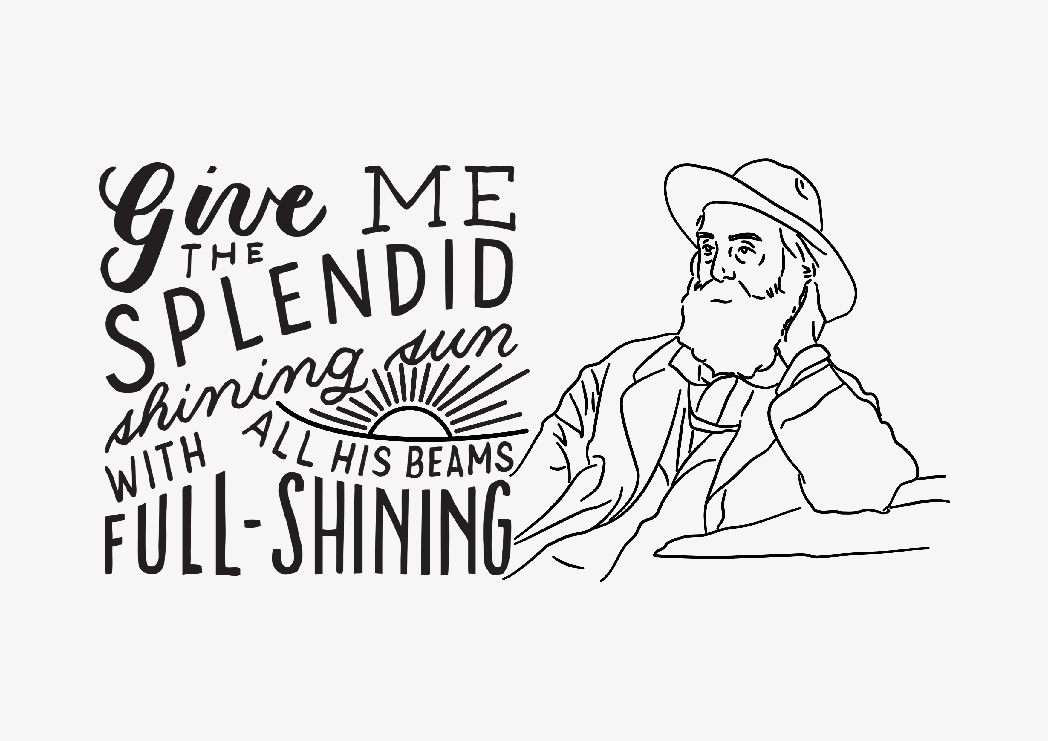 Walt Whitman poetry illustrated typography quote background