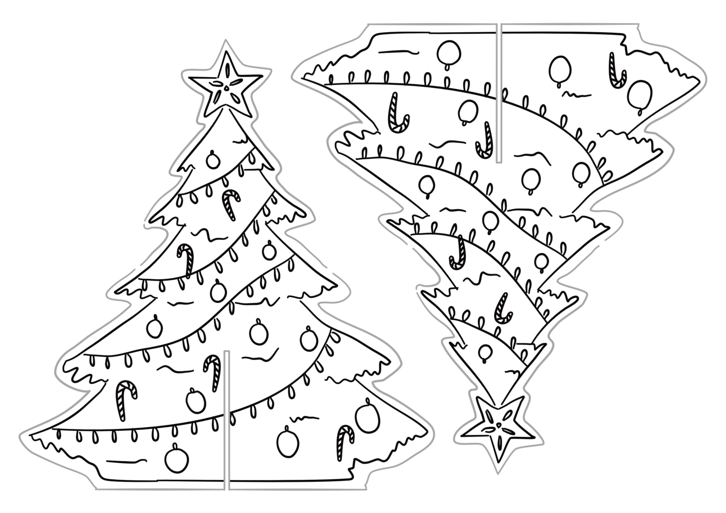 the tree is blank for you to colour in however you like in case you want to create your own design or just need an excuse to sit and colour in - Printable Christmas Trees