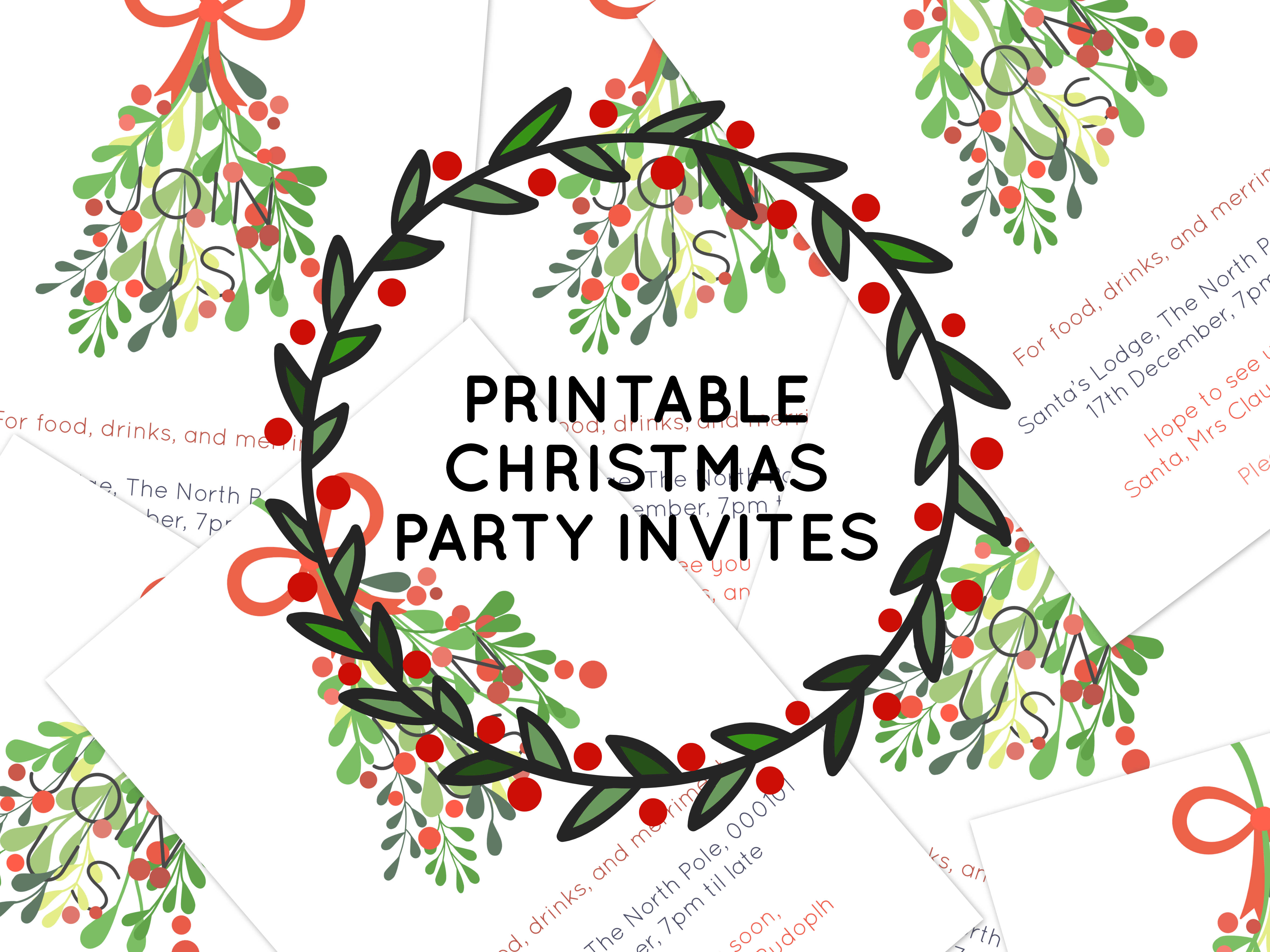 Clean image with free printable holiday invitations
